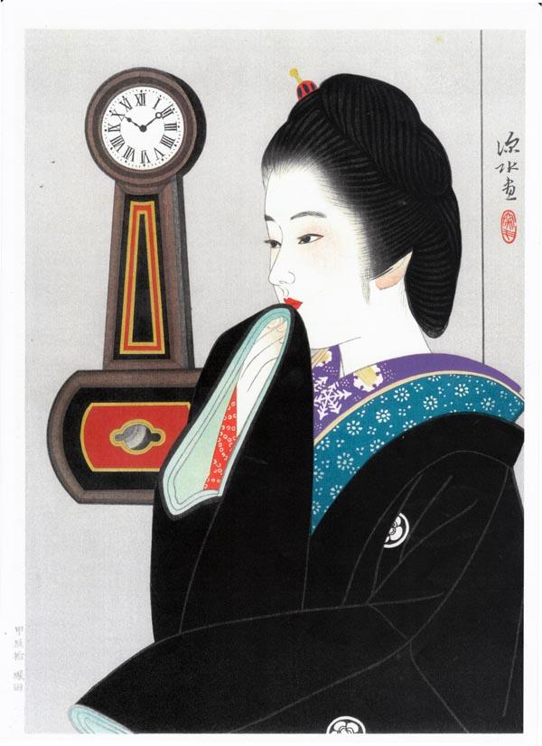 夜会巻き - 伊東深水筆(木版画...
