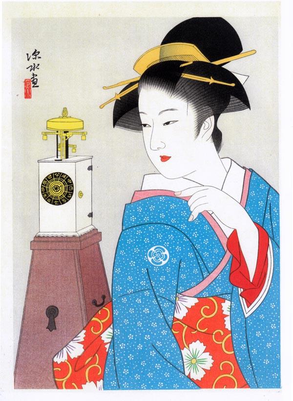 美人と櫓時計 - 伊東深水筆(木...